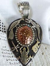 VTG Rare Leroy James Navajo Sterling Silver 925 Copper Animals detailed Pendant