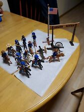 PLAYMOBIL LOT OF 11 UNION(?) SOLDIERS ON HORSES W/2 CANNONS, FLAG, GATE, WEAPONS