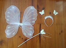 3 Pcs Set White Butterfly Angel Wings Headband&Wand Costume Fancy Dress Up