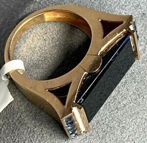 14K Rose Gold Kitten Cat Ears Black Jade Blue Spinel Unusual Cocktail Ring 6.25