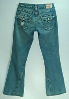 Distressed 100% Cotton Button FLAP Pocket LOW Joey Flare TRUE RELIGION Jeans! 26