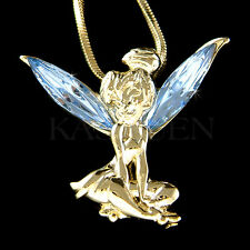 w Swarovski Crystal Blue Tinkerbell Tinker Bell Fairy Gold Tone ANGEL Necklace