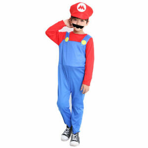 Mario Deluxe Boys' Costume Kids Cosplay Costume Suit RED colour