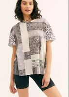 New We The Free People printed Clarity XS Charcoal Combo T Shirt Leopard NWT