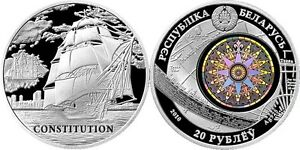 "Belarus 20 roubles 2010 ""Ship CONSTITUTION"" Silver BU"