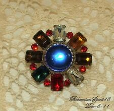 Vintage STUNNING Antique CZECH GLASS RHINESTONE Multi Color/Shape Brooch /Pin