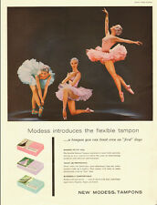 1957 vintage feminine hygiene AD, Ballerinas and Modess Tampons  -022814