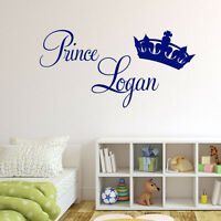 PERSONALISED BABY BOYS PRINCE WALL STICKER BEDROOM NURSERY ART