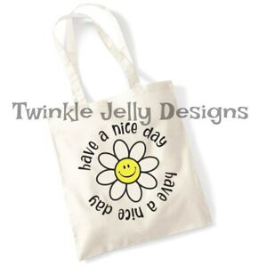 have a nice day 100% cotton aesthetic tote bag 38cmx43cm plastic free daisy