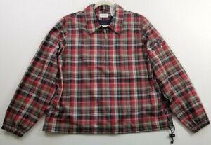 Liz Golf Women's Long Sleeve 1/4 Zip Jacket Top XL Multicolor Plaid Pocket Lined