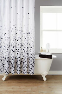 Extra Wide Mosaic Grey Polyester Shower Curtain + 12 Grey Hooks 220 cm * 180cm