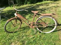 Vintage Western Flyer Girls Bicycle 21in With Tank Garden Art Parts Or Repair