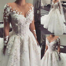 Arabic Long Sleeve Lace Wedding Dresses Beaded Appliques A Line Ball Gown Custom