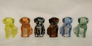 Boyd Glass  - Set of Six Pooche Pooch Dogs, made 2008 - 2009, Carnival & Uranium