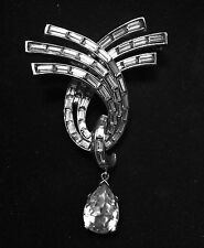 RARE AUTHENTIC VINTAGE PIN BROOCH SIGNED TRIFARI 50'S or BEFORE RHINESTONE XLNT