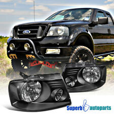 For 2004-2008 Ford F150 Truck Headlights Black Clear Head Lamps Pair Replacement