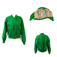 Womens LIZ SPORT Vintage 1980's 90's Green Moto Bomber Jacket Coat Size Medium M