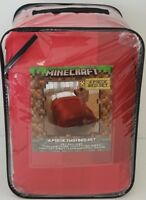 Minecraft Twin Comforter Set W/ Sheets & Pillow Case Red NEW BED IN BAG 4 Pieces