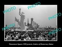 OLD LARGE HISTORIC PHOTO OF 1989 TIANANMEN SQUARE PROTESTS, GODESS OF DEMOCRACY
