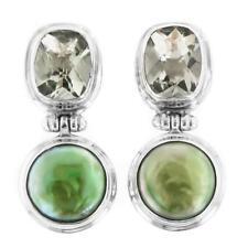 "1 1/8"" GREEN AMETHYST PEARL 925 STERLING SILVER POST earrings"