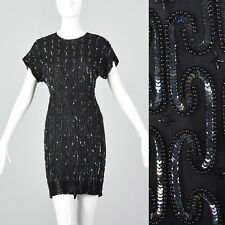 XXS 1990s Black Silk Sequin Cocktail Dress Beading VTG Beaded Short Dress