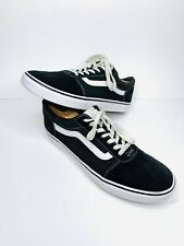 Vans OLD SKOOL Mens Black White Canvas Lace Up Low Top Skateboard Shoes Size 9.5
