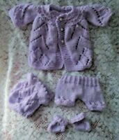 "Doll Clothes Lilac Matinee Set Vintage Style for reborn  premie baby 12"" 13in."
