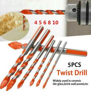 5PCS Diamond Tipped Drill Bit Set Twist Drill Bits Tile Stone Tools Cross Head