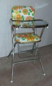 Chrome COSCO Peterson Vinyl Flower Power Metal Funky High Chair GOOD Used Vtg