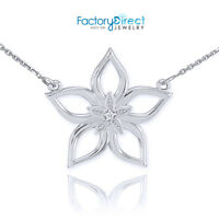 .925 Sterling Silver CZ Open Star Flower Pendant Necklace
