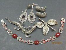 Vintage Sterling Silver Marcasite bracelet Garnet earrings lizard brooch lot 5
