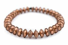Ethiopian Bezeled Copper Saucer Beads 18mm African Large Hole 17 Inch Strand