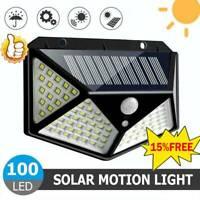 100-LED Solar Lamp Power PIR Motion Sensor Wall Light Outdoor Garden Waterproof