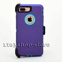 iPhone 7 Plus & iPhone 8 Plus Defender Hard Case w/Holster Belt Clip Purple Teal