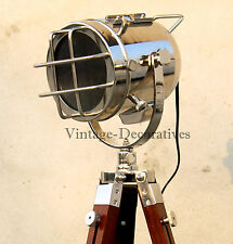 Nautical Wooden Spotlight Tripod Floor Lamp Stand Marine Searchlight Home Decor