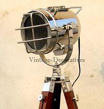 Nautical Wooden Spotlight Tripod Floor Lamp Stand Marine Searchlight Home Decor