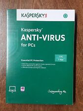 Kaspersky Anti-Virus New Sealed Retail Version 1 Year Single PC/User Windows 7 8