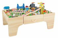 Coemo Spieltisch Theo Holz mit Schublade 100 tlg. Holzeisenbahn Häuser Brücke