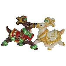 Magnetic Salt and Pepper Shakers Set Mistle-Doe and White Christmas 3 1/4 Inch
