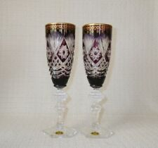Spode Crystal Amethyst Cased Glass Champagne Flutes ~ Pair ~ Ornate w/Gold Decor