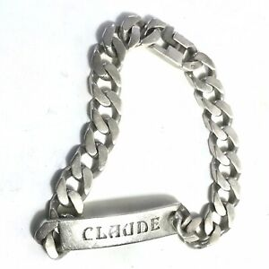Superbe Bracelet Gourmette Argent Massif Maille Forçat / Américaine Claude 42 G