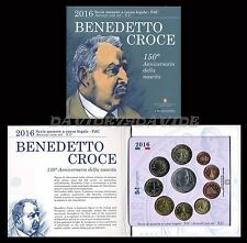DIVISIONALE UFFICIALE MONETE  EURO ITALIA 2016 CON ARGENTO BENEDETTO CROCE - FDC
