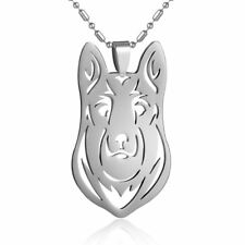 Stainless Steel German Shepherd HEAD GSD Pet Dog Tag Charm Pendant PLUS Necklace
