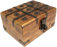 Large Treasure Chest Box Wood Decorative Keepsake
