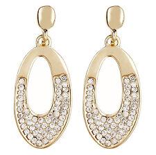 Pendientes de clip-oro con forma de gota cubiertos con claro piedras de circonio cúbico-Cathy G
