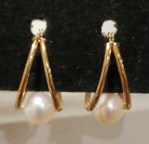 14k Yellow Gold Tension Set Pearl Split Hoop Earrings