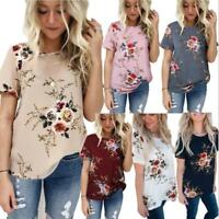 Womens Summer Floral Blouses Loose Baggy Tops Tunic Casual T-Shirts Plus Size SP