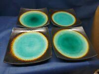 """HOME Dinnerware """"Jade Moon"""" Set/4 Square Dinner Plates Retired 2012"""