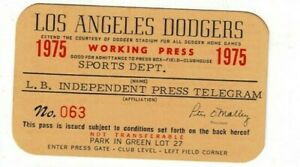 1975 Los Angeles Dodgers working press pass Baseball