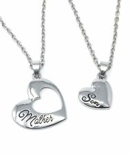 925 Silver Plt 'Mother / Son' Heart Necklace Child Best Friends Mum Love A